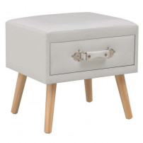 Table de chevet simili cuir blanc et pieds pin massif Twilly