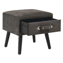 Table de chevet velours gris et pieds pin massif Twilly