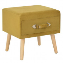 Table de chevet velours jaune et pieds pin massif Twilly