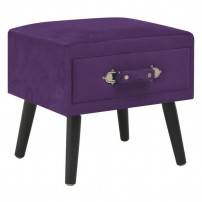 Table de chevet velours violet et pieds pin massif Twilly