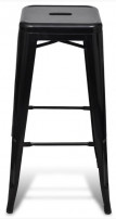 Tabouret de bar carré métal noir Itsee - Lot de 2