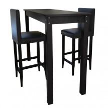 1 table de bar et 2 tabourets noir Kaz