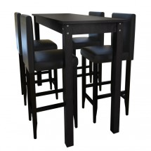 1 table de bar et 4 tabourets noir Kaz