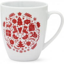 ABS T1904308-2X set de 2 mug avec decal 32cl forme boule - Theme noël scandinave
