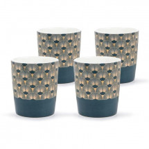 ABS T1904311-GX set de 4 tasses tisane en porcelaine forme V sans anse avec decal en or 26cl - Theme bleu artdeco