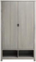 Armoire 2 portes 2 niches pin massif gris Basic Wood