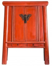 Armoire 2 portes 4 tiroirs orme massif recyclé rouge Jady