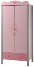 Armoire 2 portes gris et rose Girly
