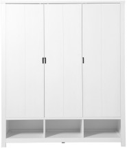 Armoire 3 portes 3 niches pin massif blanc Basic Wood