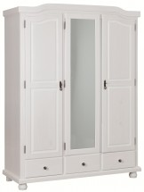 Armoire 3 portes 3 tiroirs pin massif blanc Serby