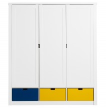 Armoire enfant luxe 3 portes 3 niches bois blanc Mix & Match