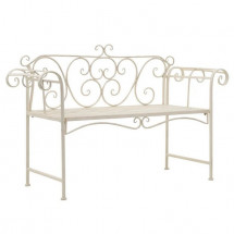 Banc de jardin métal antique blanc Break 132 cm