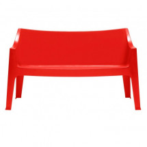 Banc polypropylène rouge Coccolona - Lot de 2
