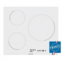 BRANDT BPI6315W - Table de cuisson-Induction-3 zones-7200W-L58xP51cm-Revetement verre-Blanc