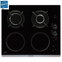 BRANDT BPI6413BM - Table de cuisson mixte induction / gaz - 4 zones - L 51 x P 58 cm - Revetement verre - Noir