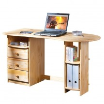 Bureau 3 tiroirs 3 niches pin massif clair Touch