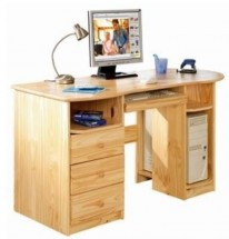 Bureau 3 tiroirs pin massif naturel Touch