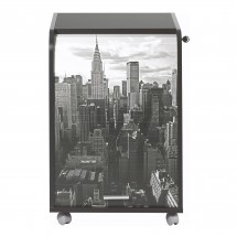 Caisson de bureau noir impression New York Orga 70