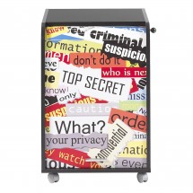 Caisson de bureau noir impression top secret Orga 70