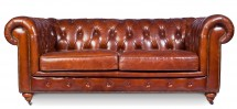 Canapé 2 places cuir marron clair Chesterfield Lower