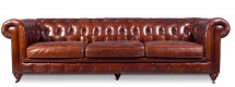 Canapé 4 places cuir marron clair Chesterfield Lower