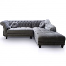 Canapé angle droit Velours Gris Chesterfield