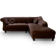 Canapé angle droit Velours Marron Chesterfield