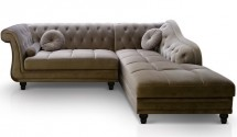 Canapé angle droit Velours Taupe Chesterfield