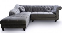 Canapé angle gauche Velours Gris Chesterfield