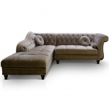 Canapé angle gauche Velours Taupe Chesterfield