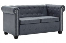 Canapé Chesterfield 2 places cuir suédé artificiel gris Besties