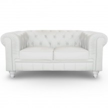 Canapé Chesterfield 2 places imitation cuir blanc