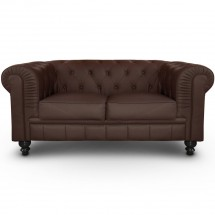 Canapé Chesterfield 2 places imitation cuir marron