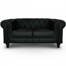 Canapé Chesterfield 2 places imitation cuir noir