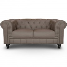 Canapé Chesterfield 2 places imitation cuir taupe