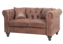 Canapé Chesterfield 2 places microfibre marron vieilli British