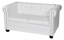 Canapé Chesterfield 2 places simili cuir blanc Cathia