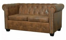 Canapé Chesterfield 2 places simili cuir marron Cathia