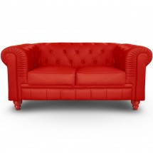 Canapé Chesterfield 2 places imitation cuir rouge British