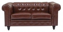 Canapé Chesterfield 2 places similicuir marron Bristo
