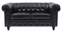 Canapé Chesterfield 2 places similicuir noir Bristo