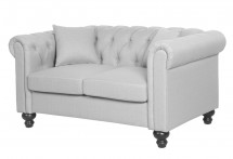 Canapé Chesterfield 2 places tissu gris clair British