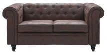 Canapé Chesterfield 2 places tissu microfibre marron Bristo