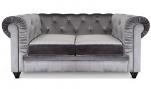 Canapé Chesterfield 2 places velours argent British