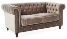 Canapé chesterfield 2 places velours beige Velvet