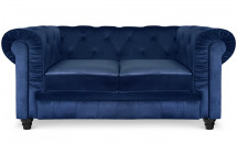 Canapé Chesterfield 2 places velours bleu British