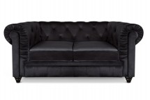 Canapé Chesterfield 2 places velours noir British