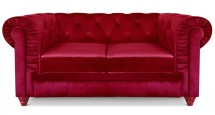 Canapé Chesterfield 2 places velours rouge British