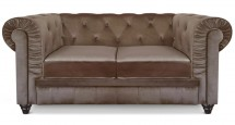 Canapé Chesterfield 2 places velours taupe British