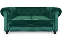 Canapé Chesterfield 2 places velours vert British